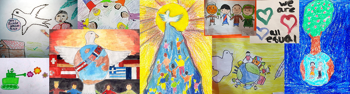 World Dreams Peace Bridge collage of children's drawings